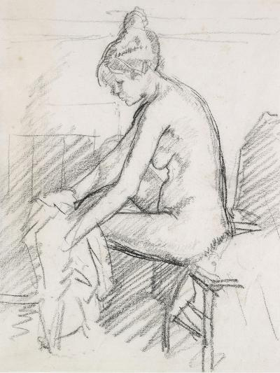 Study of a Nude Female, Seated, Drying Her Right Foot-Harold Gilman-Giclee Print