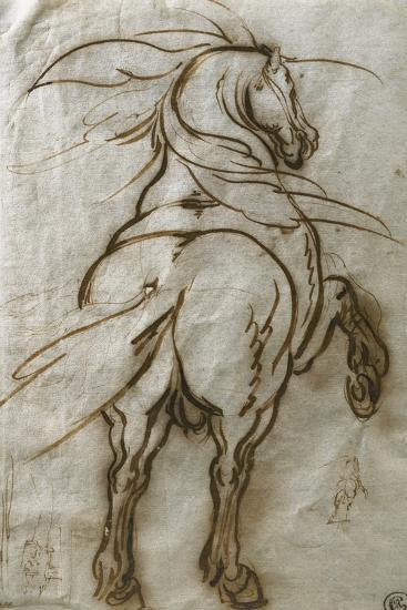 Study of a Rearing Horse, with a Subsidiary Study of the Same and a View of a Town-Jacques Callot-Giclee Print