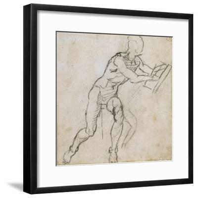 Study of a Seated Male Nude, C.1511-Michelangelo Buonarroti-Framed Giclee Print