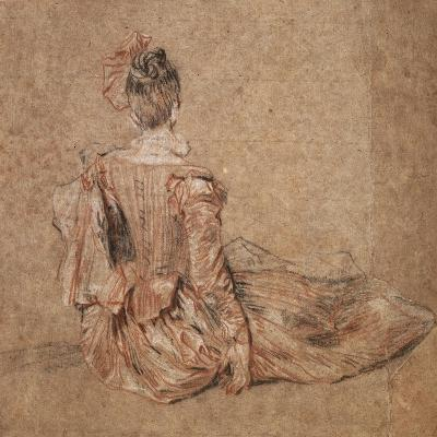 Study of a Woman Seen from the Back, 1716-1718-Jean-Antoine Watteau-Giclee Print