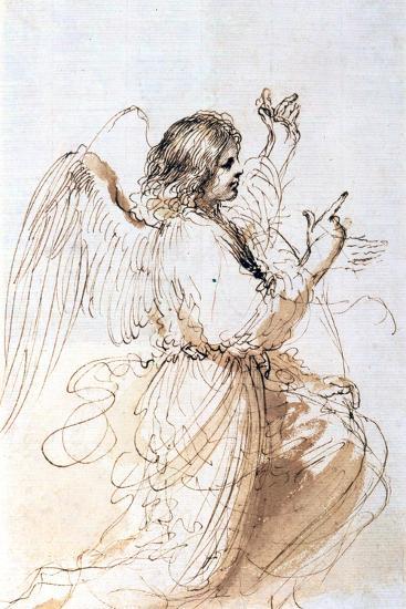 Study of an Angel, C1611-1666-Guercino-Giclee Print
