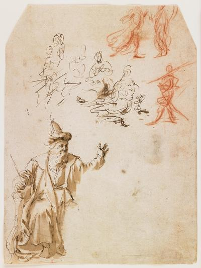 Study of an Old Testament Prophet and Other Figure Studies (Recto); Study of a Male Figure with a R--Giclee Print