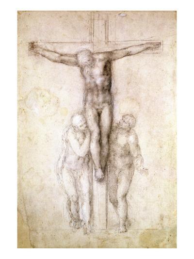 Study of Christ on the Cross between the Virgin and St. John the Evangelist-Michelangelo Buonarroti-Giclee Print