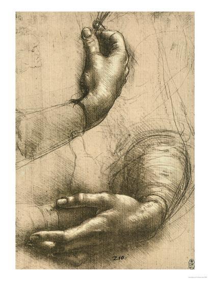 Study of Female Hands, Drawing, Royal Library, Windsor-Leonardo da Vinci-Premium Giclee Print
