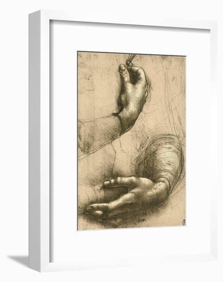Study of Female Hands, Drawing, Royal Library, Windsor-Leonardo da Vinci-Framed Giclee Print