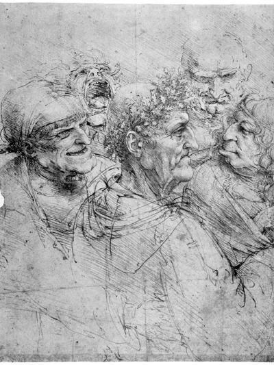 Study of Five Grotesque Heads, C1494-Leonardo da Vinci-Giclee Print