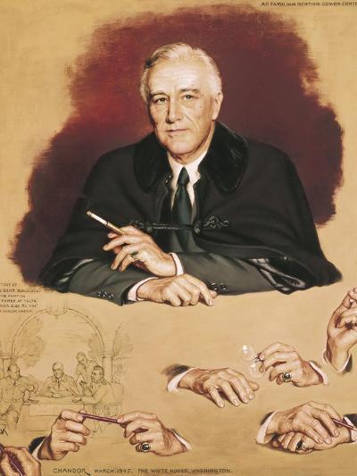 "Study of Franklin Delano Roosevelt for the Painting ""Big Three at Yalta""-Douglas Chandor-Art Print"