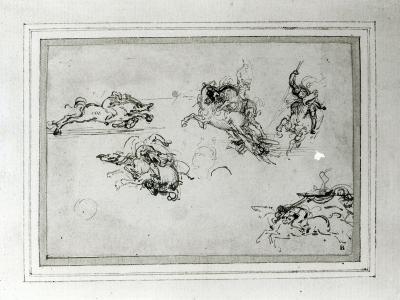 Study of Horsemen in Combat, 1503-4-Leonardo da Vinci-Giclee Print