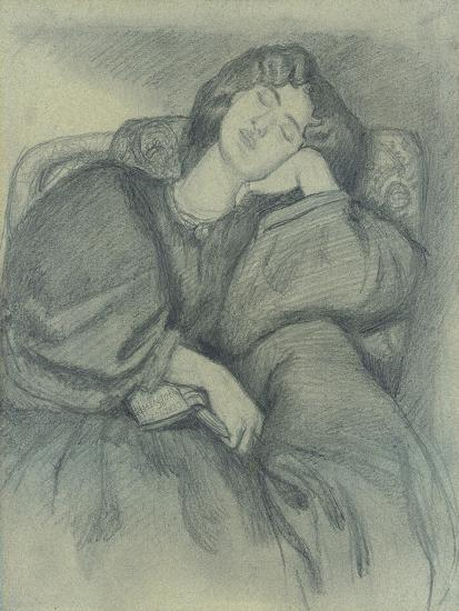 Study of Jane Morris Asleep in an Upholstered Armchair-Dante Gabriel Charles Rossetti-Giclee Print