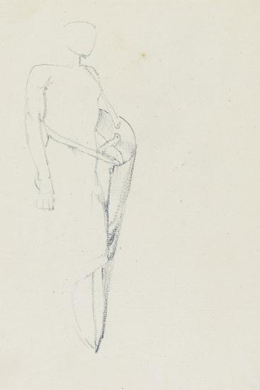 Study of Male with a Shield (Recto) and Female Torso-Edward Burne-Jones-Giclee Print