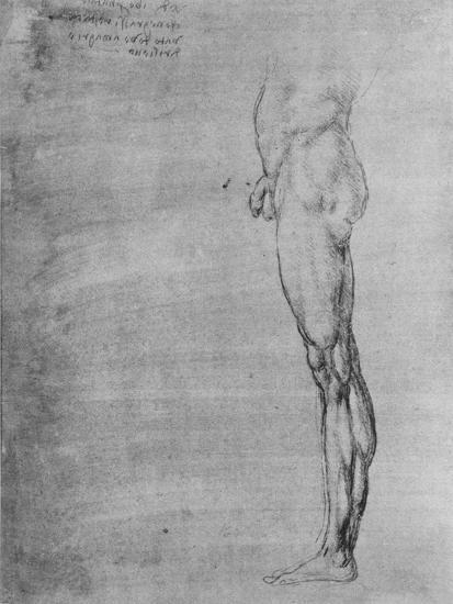 'Study of the Body and Leg of a Man', c1480 (1945)-Leonardo da Vinci-Giclee Print