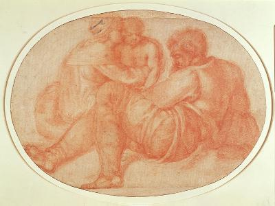 Study of the Holy Family (Red Chalk on Paper)-Michelangelo Buonarroti-Giclee Print