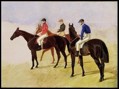Study of Three Steeplechase Cracks: Allen Mcdonough on Brunette, Tom Oliver on Discount-John Frederick Herring I-Giclee Print