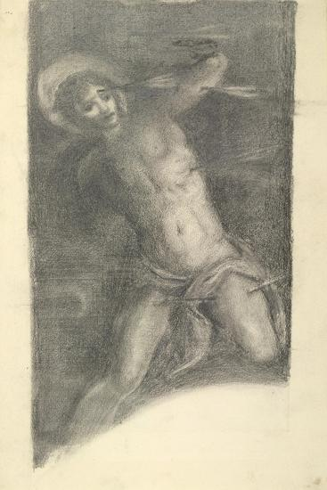 Study of Tintoretto's Saint Sebastian in the Scuola Grande Di San Rocco, 1859 or 1862-Edward Burne-Jones-Giclee Print