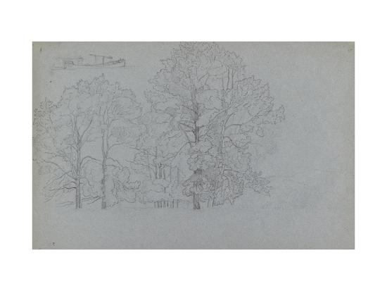 Study of Trees, with a Slight Study of a Barge, 1859-Camille Pissarro-Giclee Print
