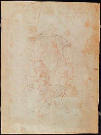Study of Two Male Figures (Red Chalk on Paper) (Verso)-Michelangelo Buonarroti-Giclee Print