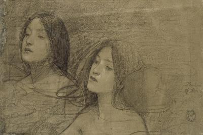 Study of Two Nymphs for 'Hylas and the Nymphs'-John William Waterhouse-Giclee Print
