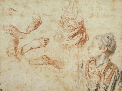 Study, Red Chalk Drawing, Pencil and Black Chalk-Jean Antoine Watteau-Giclee Print
