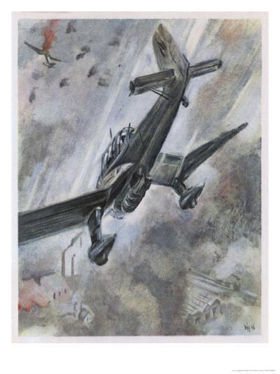 """""""Stuka"""" Dive-Bombers of the Luftwaffe in Action-A^w^ Diggelmann-Giclee Print"""
