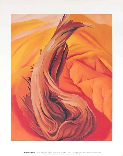 Stump on Red Hills-Georgia O'Keeffe-Art Print