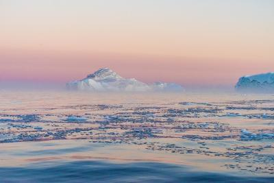 Stunning Iceberg Landscape with Midnight Sun Colors at Mouth ofIcefjord, Near Ilulissat, Greenland-Luis Leamus-Photographic Print