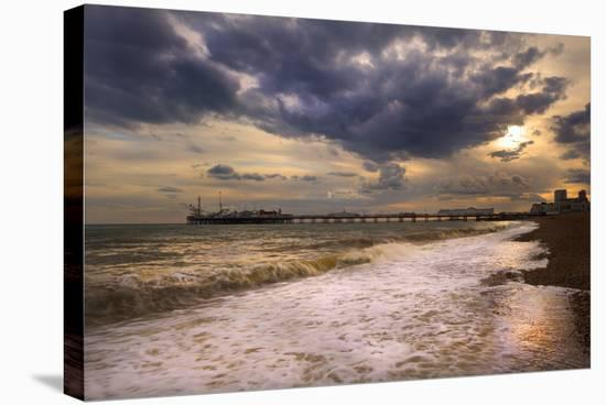 Stunning Sunset over Ocean and Pier-Veneratio-Stretched Canvas Print