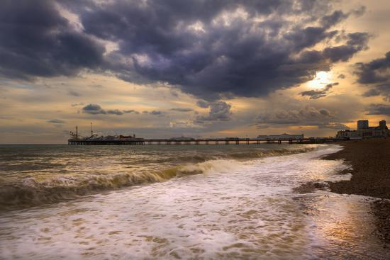 Stunning Sunset over Ocean and Pier-Veneratio-Photographic Print