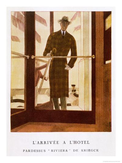 Stylish Double-Breasted Brown Checked Coat by Lus and Befue, Perfect for the Riviera!-R. Rejelan-Giclee Print