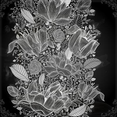 Stylish Floral Background, Hand Drawn Retro Flowers-Ozerina Anna-Art Print