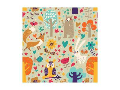 Stylish Floral Seamless Pattern with Forest Animals: Bear, Fox, Owl, Rabbit. Vector Background With-smilewithjul-Art Print