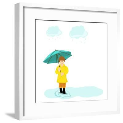 Stylish Girl Holding Green Umbrella on Blue Stormy Clouds Background for Monsoon Season.-Allies Interactive-Framed Premium Giclee Print