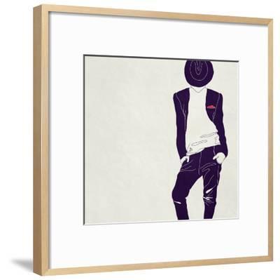 Stylish Man,, Black and White-vipa21-Framed Art Print