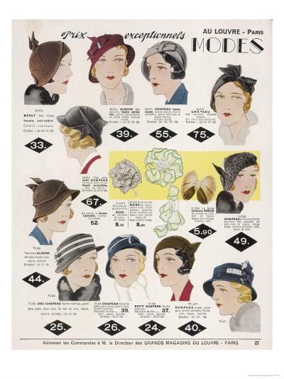 Stylish Selection of Women's Hats Including Many Brimless Designs--Giclee Print