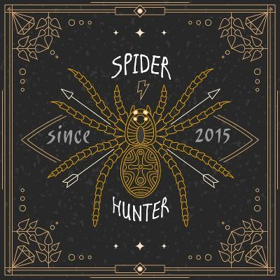 Stylish Thin Line Spider Label. Vintage Design Vector Illustration, Logo, Badge, Emblem, Insignia,-karnoff-Art Print