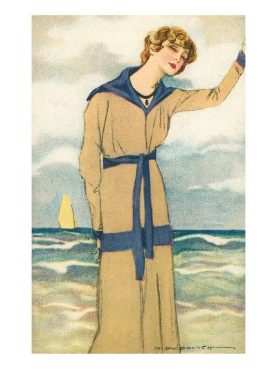 Stylish Woman by the Sea--Art Print