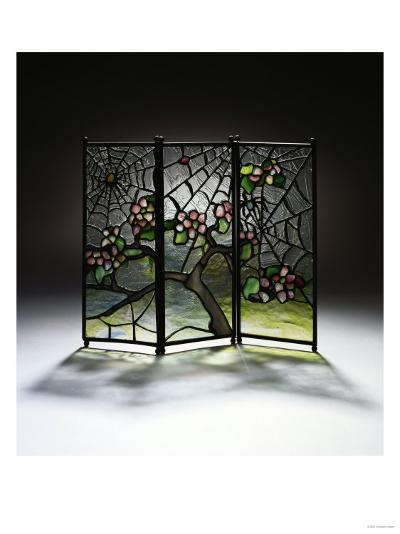 Stylized Apple Blossom Branches and Spider Webs Leaded Glass and Bronze Three-Panel Tea Screen-Adler & Sullivan-Giclee Print