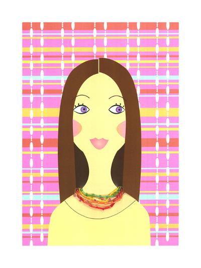 Stylized Brunette Woman on Colorful Plaid--Art Print