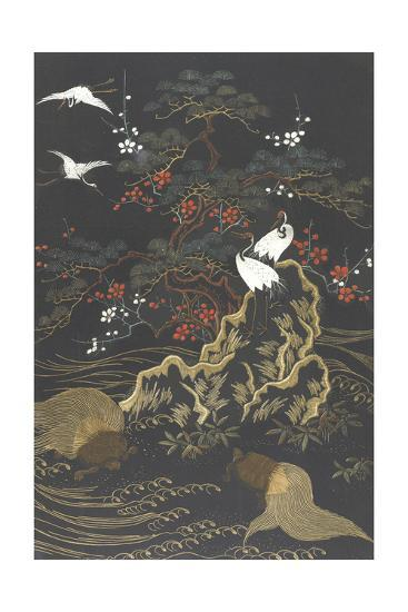 Stylized Cypress Tree with Whooping Cranes on Dark Background--Art Print
