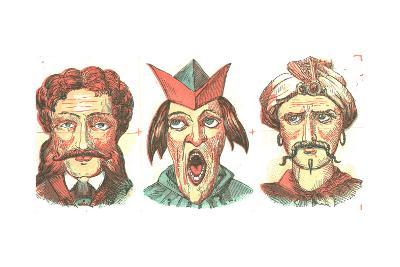 Stylized Dramatic Male Faces--Art Print