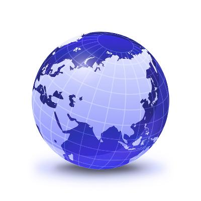 Stylized Earth Globe with Grid, Showing Asia And Europe-Stocktrek Images-Photographic Print