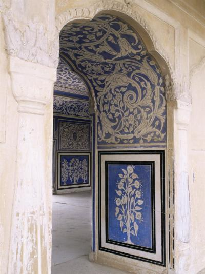 Stylized Foral Motif, Chalk Blue and White Painted Mahal, the City Palace, Jaipur, India-John Henry Claude Wilson-Photographic Print
