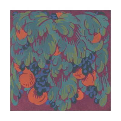 Stylized Fruits with Scalloped Leaves--Art Print