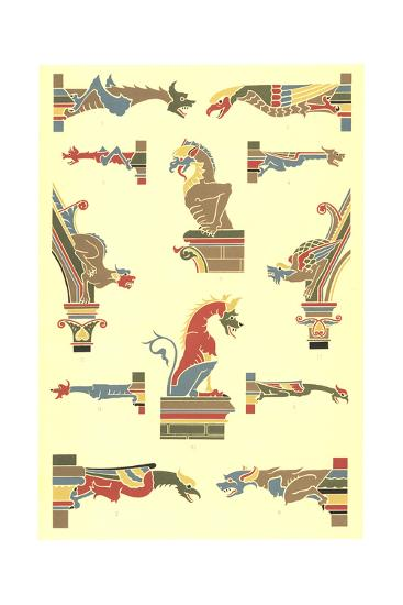 Stylized Gargoyles with Other Pillar Finials--Art Print