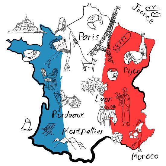 Map Of France To Print.Stylized Map Of France Things That Different Regions In France Are Famous For Art Print By Alisa Foytik Art Com