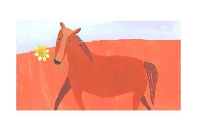 Stylized Painting of Horse with Yellow Flower in Mouth--Art Print