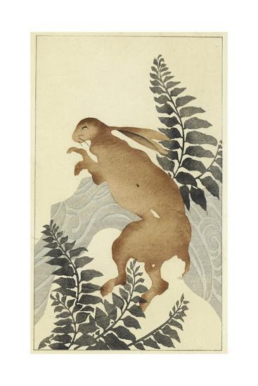 Stylized Rabbit with Leafy Branches Watercolor--Art Print