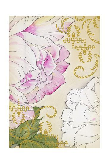 Stylized Roses with Gold Laurels and Swirls--Art Print