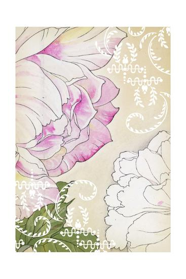 Stylized Roses with White Laurels and Swirls--Art Print