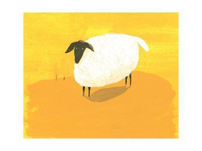Stylized Sheep Standing on Yellow Texture--Art Print