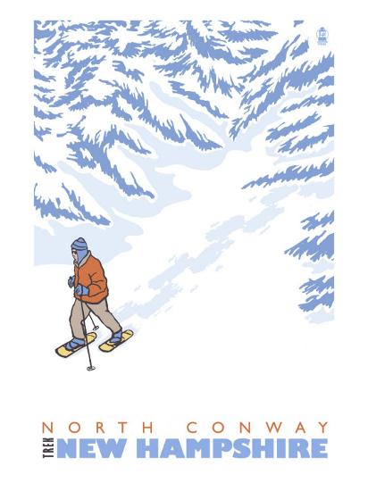 Stylized Snowshoer, North Conway, New Hampshire-Lantern Press-Art Print